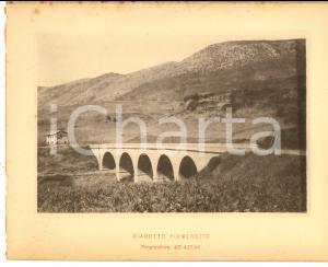 1888 Ferrovia ROMA-SULMONA - Veduta del viadotto FIUMEROTTO - Stampa 20x16 cm