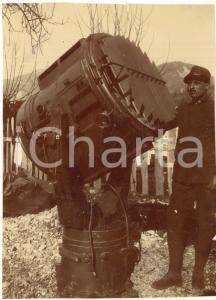 1916 WW1 ZONA DI GUERRA Ufficiali di artiglieria in postazione di tiro FOTO 9x12
