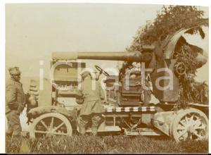 1916 WW1 ZONA DI GUERRA Soldati preparano cannone mimetizzato *Foto 12x9