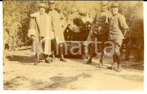 1916 WW1 ZONA DI GUERRA Ufficiali presso postazione di tiro *Foto 11x7 cm