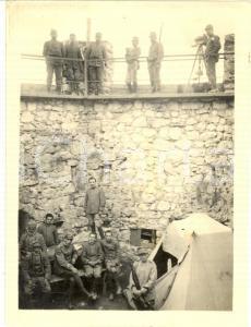 1916 WW1 ZONA DI GUERRA Ufficiali italiani in una fortezza *Foto 9x12 cm