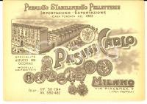 1900 ca MILANO PASINI Carlo - Premiato Stabilimento Pelletterie - Biglietto