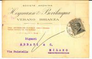 1928 VERANO BRIANZA Società Anonima HEYMANN & BEVILACQUA *Cartolina intestata