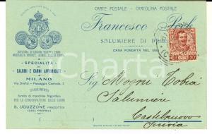 1906 MILANO Francesco PECK - Salumi e carni affumicate - Cartolina intestata