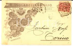 1898 MILANO Ditta E. ISOLABELLA & Figlio - Liquori - Cartolina intestata FP VG