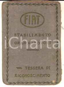 1930 TORINO FIAT Stabilimento Grandi Motori - Tessera di riconoscimento