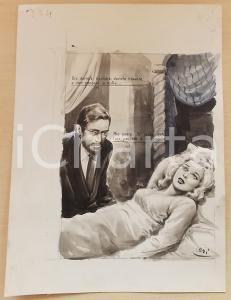 1955 ca BOZZETTO ORIGINALE Medico cura donna prigioniera in un harem *Ill. CESI