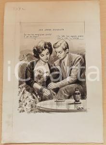 1955 ca BOZZETTO ORIGINALE Donna dissoluta riceve gioiello in regalo *Ill. CESI