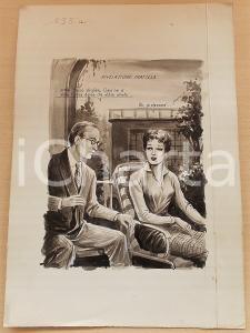 1955 ca BOZZETTO ORIGINALE Professore dichiara suo amore a ex studentessa *CESI