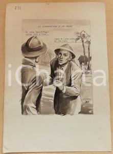 1955 ca BOZZETTO ORIGINALE Padre cerca figlia dispersa in Africa *Ill. CESI