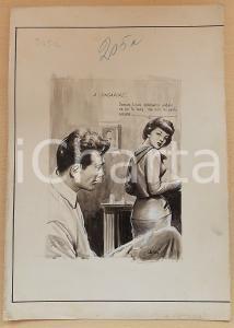 1955 ca BOZZETTO ORIGINALE Amanti in un hotel di Singapore *Illustrazione CESI