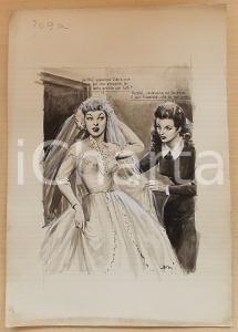 1955 ca BOZZETTO ORIGINALE La preparazione della sposa *Illustrazione CESI