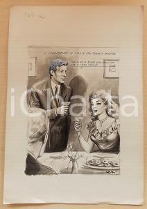 1955 ca BOZZETTO ORIGINALE Coppia annuncia fidanzamento ufficiale *Ill. CESI