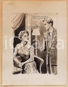 1955 ca BOZZETTO ORIGINALE Madre e figlio litigano per una ragazza *Ill. CESI