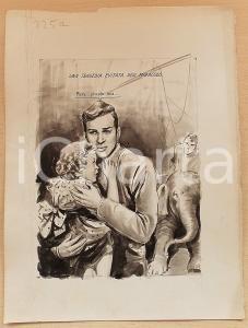 1955 ca BOZZETTO ORIGINALE Bambina salvata dalla furia di un elefante *Ill. CESI