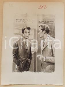 1955 ca BOZZETTO ORIGINALE Chiacchiere tra uomini *Illustrazione CESI