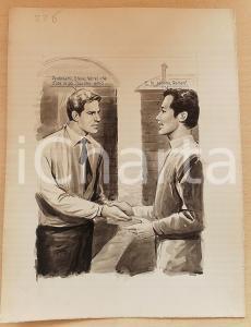 1955 ca BOZZETTO ORIGINALE Stretta di mano tra amici *Illustrazione CESI