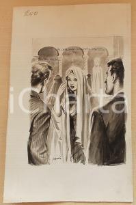 1955 ca BOZZETTO ORIGINALE Concubina si spoglia del burqa *Illustrazione CESI