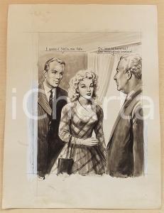 1955 ca BOZZETTO ORIGINALE Ragazza presentata a facoltoso industriale *Ill. CESI