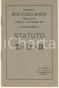 1921 MILANO Società MUTUA ALLEANZA MILANESE - Statuto 20 pp. - Tip. A. RIZZI