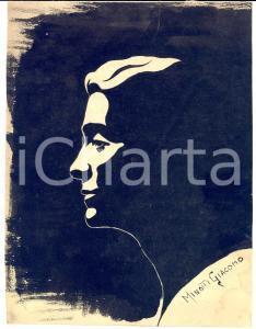 1930 ca Giacomo MINOTTI Ritratto maschile di profilo - China su carta 18x24 cm