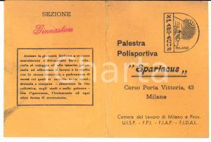 1952  MILANO Palestra Polisportiva SPARTACUS - Sezione Ginnastica - Tessera