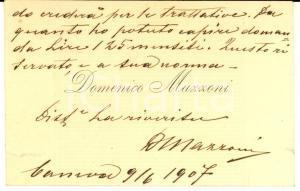 1909 CANEVA Pittore Domenico MAZZONI - Biglietto da visita AUTOGRAFO