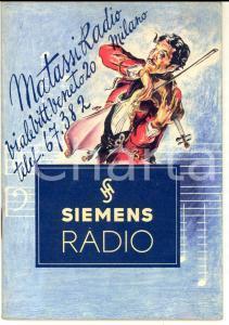 1941 SIEMENS RADIO Catalogo ILLUSTRATO - Rivendita Alberto MATASSI