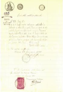 1922 SORANO Chiesa San Nicola - Battesimo Vincenzo SELVI Certificato marca bollo