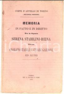 1866 TORINO Memoria per Serena STABILINI-REINA contro Onorato STABILINI
