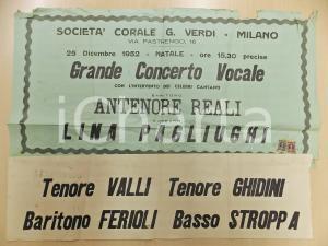 1952 MILANO Concerto Corale VERDI con Antenore REALI e Lina PAGLIUGHI *Manifesto