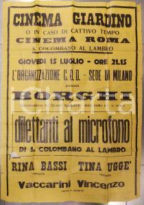 1950 ca SAN COLOMBANO AL LAMBRO Dilettanti al microfono *Manifesto DANNEGGIATO