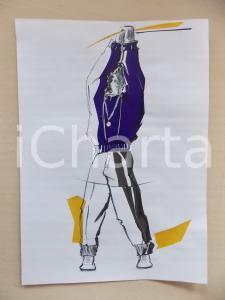 1980 ca MODA UOMO SPORT Completo pullover e pantalone (2) - Bozzetto 25x35 cm