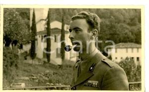 1950 ca ESERCITO ITALIANO Ritratto di militare con pipa *Cartolina 13x8 cm