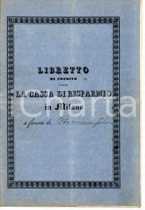 1914 MILANO Cassa di Risparmio delle Provincie Lombarde *Libretto di risparmio