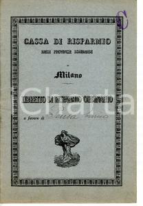 1925 MILANO Cassa di Risparmio delle Provincie Lombarde *Libretto di risparmio