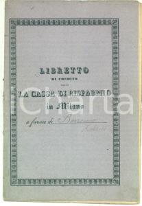 1917 MILANO Cassa di Risparmio delle Provincie Lombarde *Libretto di credito