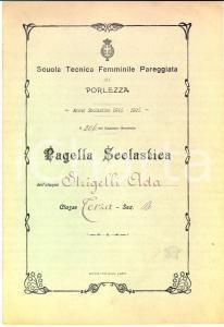 1915 PORLEZZA Scuola Tecnica Femminile Pareggiata - Pagella Ada STRIGELLI