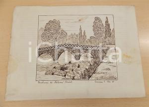 1936 ARTE V. VIVIANI Dintorni di Milano (Lambro) - Disegno a china 33x24 cm