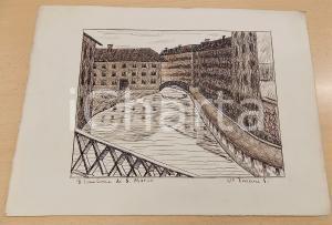 1935 ARTE V. VIVIANI Milano - Tombone di S. Marco - Disegno a china 33x24 cm