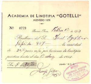 1933 BUENOS AIRES Academia de Linotipia GOTELLI - Ricevuta per lezioni
