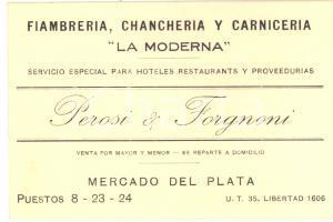 1930 ca BUENOS AIRES - Fiambreria chancheria PEROSI & FORGNONI - Cartoncino