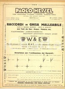 1932 MILANO Ditta Paolo HESSEL Raccordi in ghisa - Listino prezzi illustrato