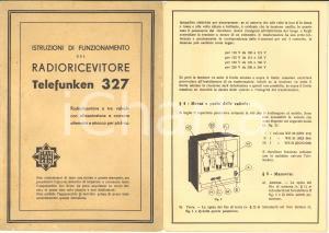 1936 Radioricevitore TELEFUNKEN 327 - Istruzioni di funzionamento - Pieghevole