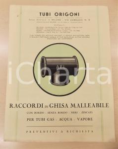 1935 MILANO Tubi ORIGONI - Raccordi in ghisa malleabile - Listino prezzi