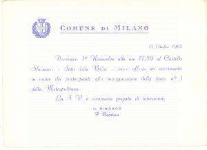 1964 MILANO ATM Inaugurazione linea 1 metropolitana - Invito ricevimento