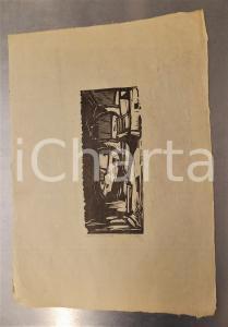 1930 ca Guido POLO Vecchia Trento - Stampa xilografia firmata 2/3 25x35 cm