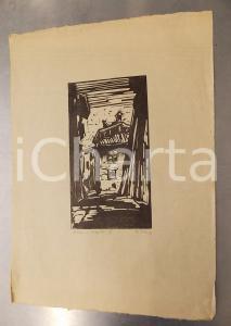 1930 ca Guido POLO Vecchia Trento - VI - Stampa xilografia firmata n°3 25x35 cm