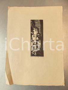 1930 ca Guido POLO Vecchia Trento - V - Stampa xilografia firmata n° 6 25x35 cm