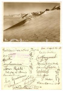 1936 STELVIO Rifugio LIVRIO - Cartolina firme CAI BERGAMO - DANNEGGIATA
